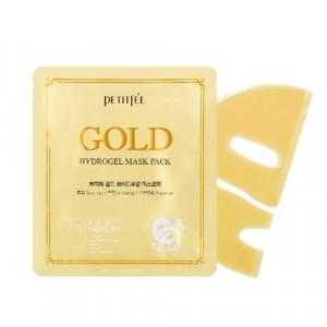 Гидрогелевая маска для лица с золотым комплексом +5 PETITFEE Gold Hydrogel Mask Pack +5 golden complex 32g - 1шт