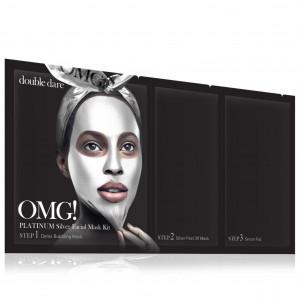 """Трикомпонентний комплекс масок """"Активний ліфтинг і відновлення"""" Double Dare OMG! Platinum Silver Facial Mask Kit"""