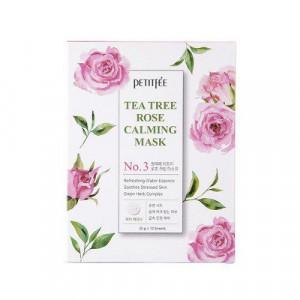 Заспокійлива маска для обличчя з екстрактом чайного дерева та троянди PETITFEE Tea Tree Rose Calming Mask 25g - 10 шт