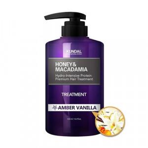 """Маска-Кондиціонер для волосся """"Бурштинова ваніль"""" KUNDAL Honey & Macadamia Treatment Amber Vanilla 500ml"""