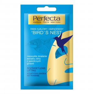 Вирівнююча тон тканинна маска для обличчя з ластівчиним гніздом PERFECTA Bird s Nest Asiatic Sheet Face Mask Illumination 20ml