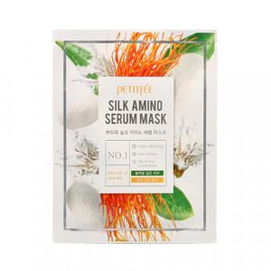 Маска для обличчя з протеїнами шовку PETITFEE Silk Amino Serum Mask 25g - 1шт