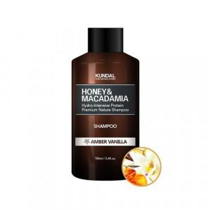 "Безсульфатний шампунь для волосся ""Бурштинова ваніль"" KUNDAL Honey & Macadamia Amber Vanilla Shampoo 100ml"