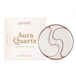 Гідрогелеві патчі для очей з протеїнами перлів і пудрою опала PETITFEE Aura Quartz Hydrogel Eye Mask Pure Opal 40шт.
